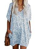 MU2M Women Summer Short Sleeve V Neck Leopard Print Loose Fit T Shirt Dress