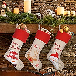 "LimBridge 17"" 3-Pack Rustic Burlap Christmas Stockings, Santa, Snowman & Reindeer"