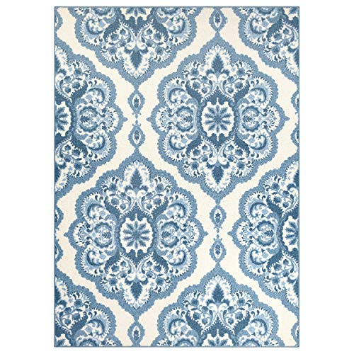 Maples Rugs Area Rugs - Vivian 7 x 10  Large Area Rugs [Made in USA] for Living Room, Bedroom, and Dining Room, Blue