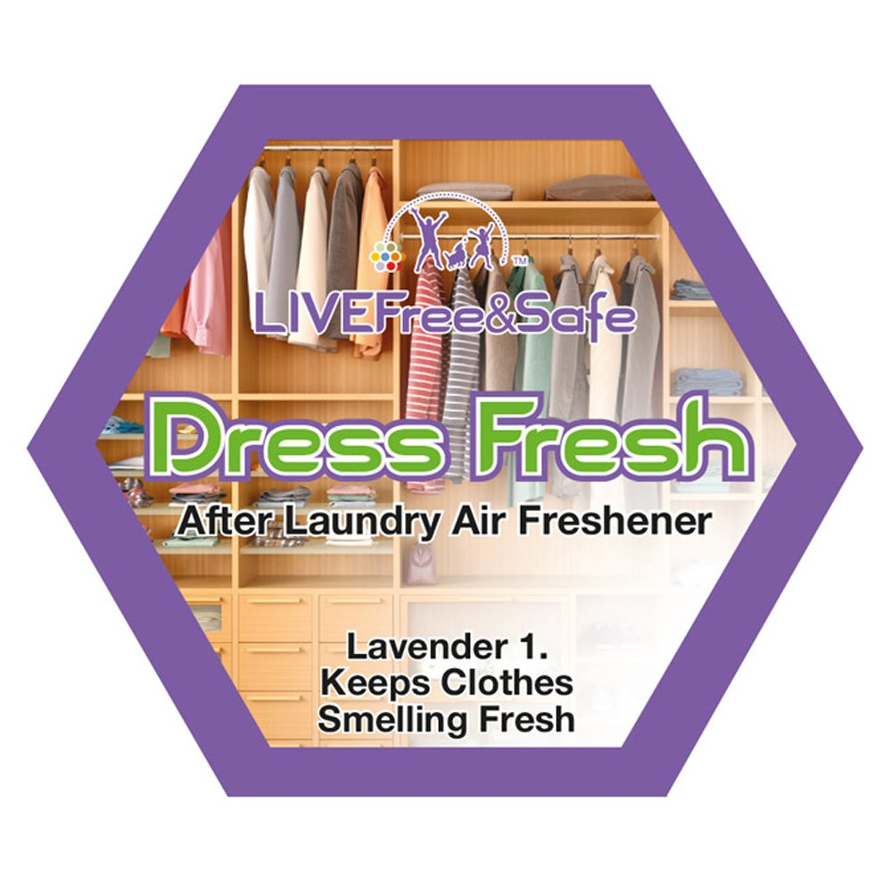 Live Free & Safe Air Freshener   Natural Ingredients   Controlled Release Technology   Eliminate Odors   Made in the USA (Dress Fresh, 5-Pack)