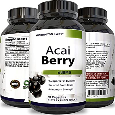 Acai Berry Detox & Cleanse 100% Pure Extract - Best Natural Weight Loss Supplement With Vitamins and Minerals - Immune And Digestive System Support Antioxidant - for Men and Women by Huntington Labs