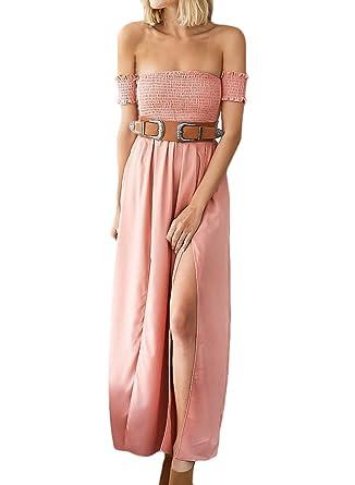 Stylesimo Womens Elastic Strapless Short Sleeve High Slit Maxi Prom Dress, ...