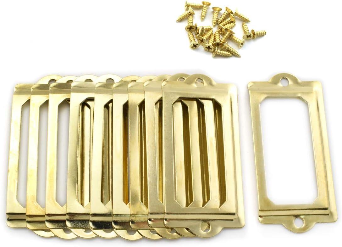 Antique Metal Name Card Frame OZXNO 10-Pack Vintage Bronze Label Holder Tag Slots for Drawer File Cabinet Shelves 70 x 33 mm // 2.8 x 1.3 inch