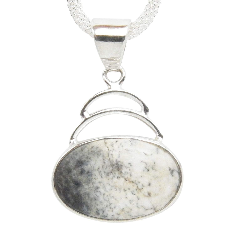 Dendritic Opal Pendant Large Pendant Sterling Silver Pendant Designer Pendant
