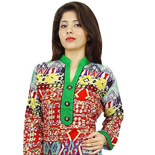 Diseñador indio de Bollywood Mujeres Rayón vestido superior de la túnica étnico Kurti algodón Multicolor