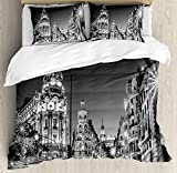 Black and White Decorations Queen Size Duvet Cover Set by Ambesonne, Madrid City Night Spain Main Street Ancient Architecture, Decorative 3 Piece Bedding Set with 2 Pillow Shams, Grey