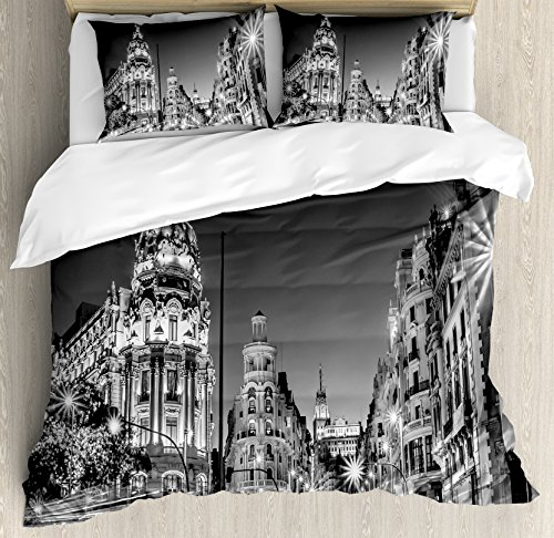 Black and White Decorations Queen Size Duvet Cover Set by Ambesonne, Madrid City Night Spain Main Street Ancient Architecture, Decorative 3 Piece Bedding Set with 2 Pillow Shams, Grey by Ambesonne