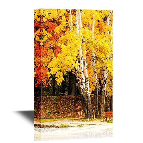 wall26 - Canvas Wall Art - Bench and Maple in City Park in The Autumn - Gallery Wrap Modern Home Decor   Ready to Hang - 24x36 inches ()