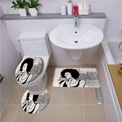 3PCS Non-slip Bath Pedestal Mat Toilet Lid Carpet Bathroom Washable Rug New York