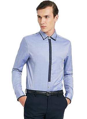 ME&CITY Men's Fancy Color Block Long Sleeve Casual Slim Fit Shirt, Light Blue XXL