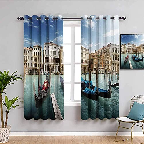 Italian Historic Decor Curtain Panels Gondolas Venetian Adriatic Lagoon Venezia Photo Bathroom Curtain W108 x L84 Inch
