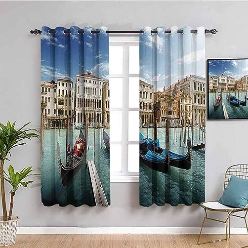 Italian Historic Decor Curtain Panels Gondolas Venetian Adriatic Lagoon Venezia Photo Bathroom Curtain W108 x L84 Inch