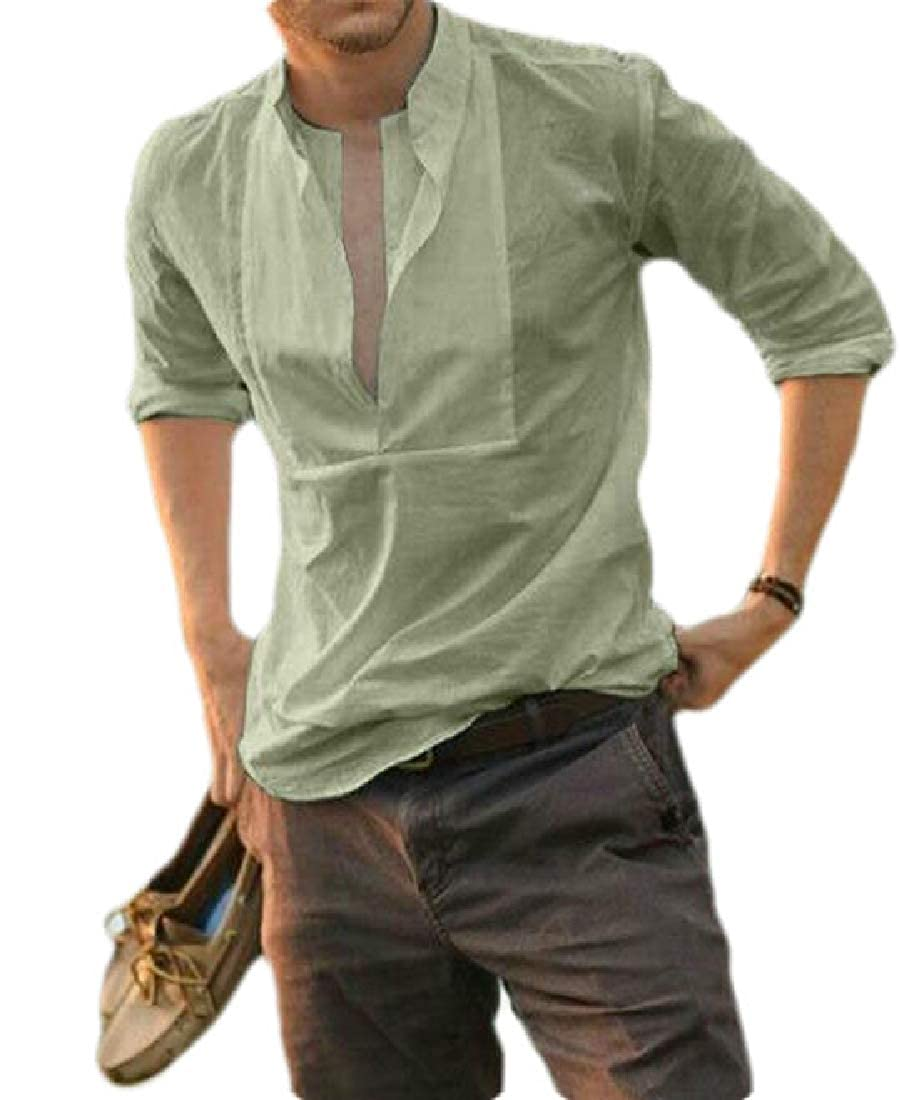 GRMO Men Loose Casual Long Sleeve Plus Size Pure Color Dress Work Shirt