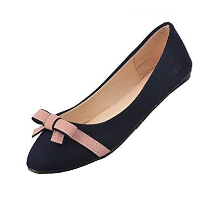 9b0440822877 Gaorui Women Bowknot Ballet Pumps Dolly Flats Ladies Ballerina Shoes  Pointed Toe Slip on Loafers Work