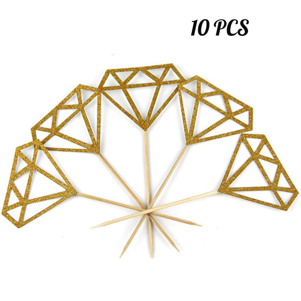 certainPL 10Pcs Toppers Silver/Glitter Diamond for Cupcake Bridal Shower Decoration (Gold)