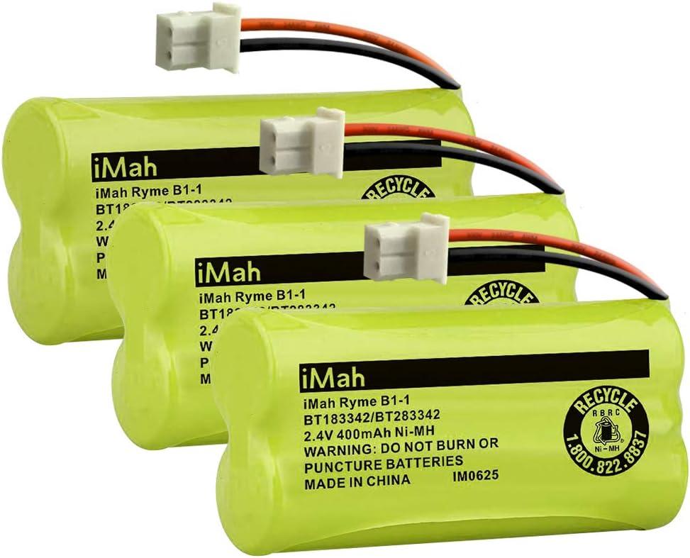 iMah BT183342/BT283342 Cordless Phone Battery, Compatible with BT166342/BT266342 BT162342/BT262342 AT&T EL52100 EL50003 CL80100 CL80111 CRL80112 EL50003 VTech CS6709 CS6609 CS6509 CS6409, Pack of 3