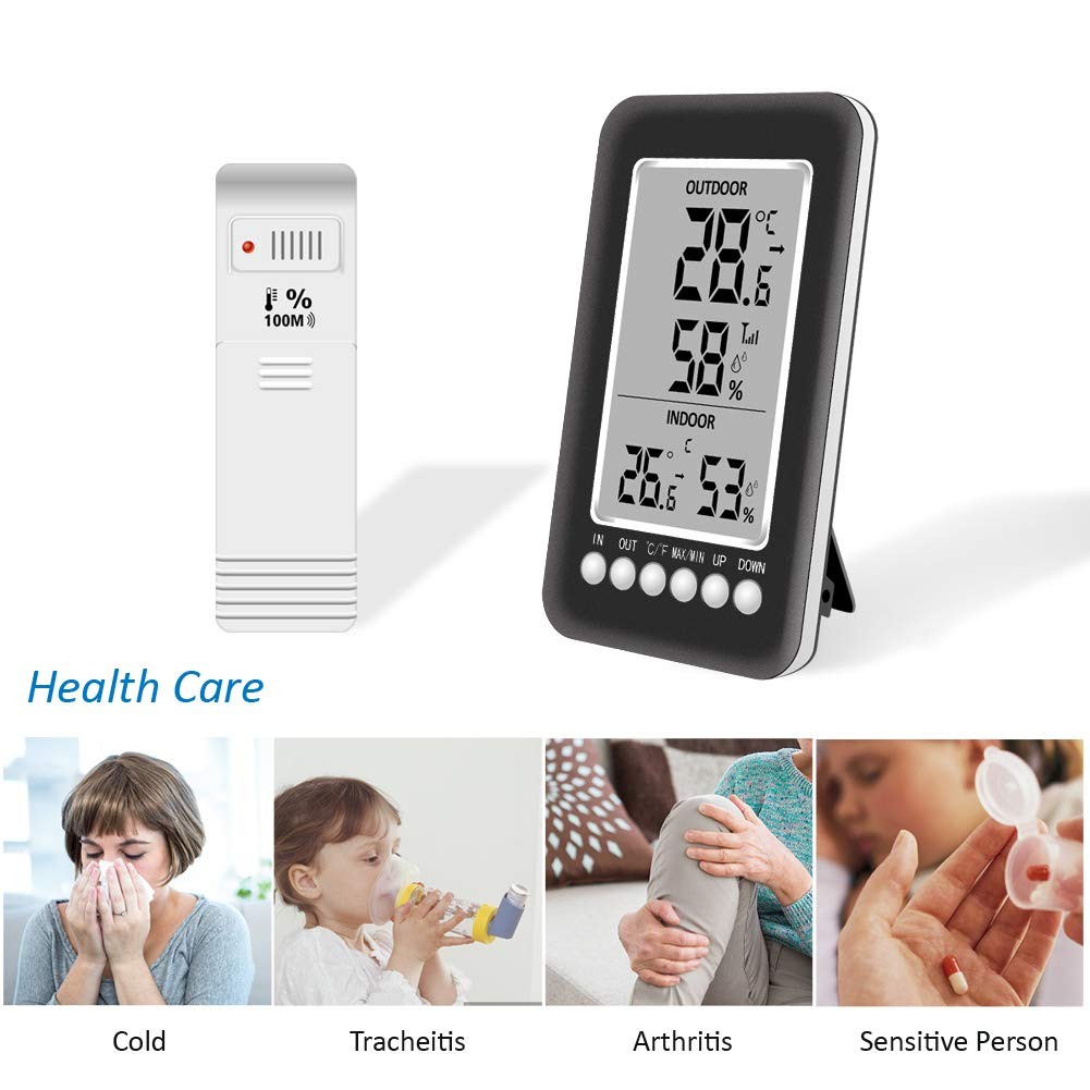 MiKJGYB Digital Thermometer Hygrometer Indoor Outdoor Temperature Humidity Monitor Larger Screen Refrigerator/Thermometer Display Max//Min Records Wireless Station Alarm Function