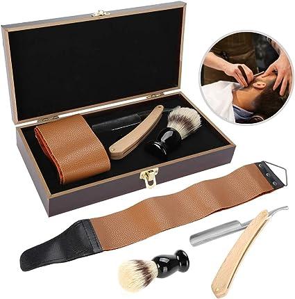 Afeitadora Peluquería, Juego de maquinillas de afeitar de 3 piezas/set, Juego de regalo de afeitado perfecto para hombres jóvenes y maduros - Caja de regalo de caja de madera: Amazon.es: Belleza