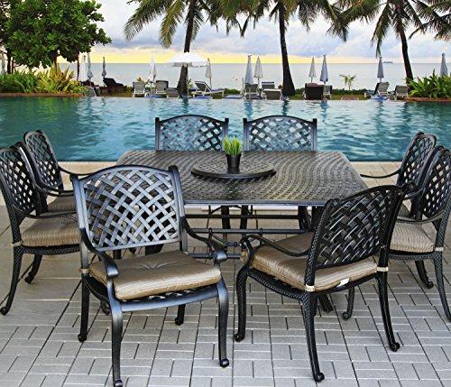 - Heritage Outdoor Living Cast Aluminum Nassau Outdoor Patio 9pc Dining Set with Series 5000 64