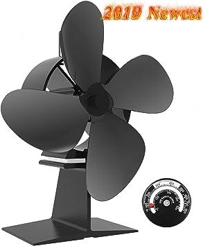 Ventilador de la Estufa - 4-cuchilla Ventilador de Estufa,Ventilador Chimenea para Madera/Estufa de Leña/Chimenea,Silencio,Respetuoso del Medio Ambiente,Negro [Clase energética A +++]: Amazon.es: Bricolaje y herramientas