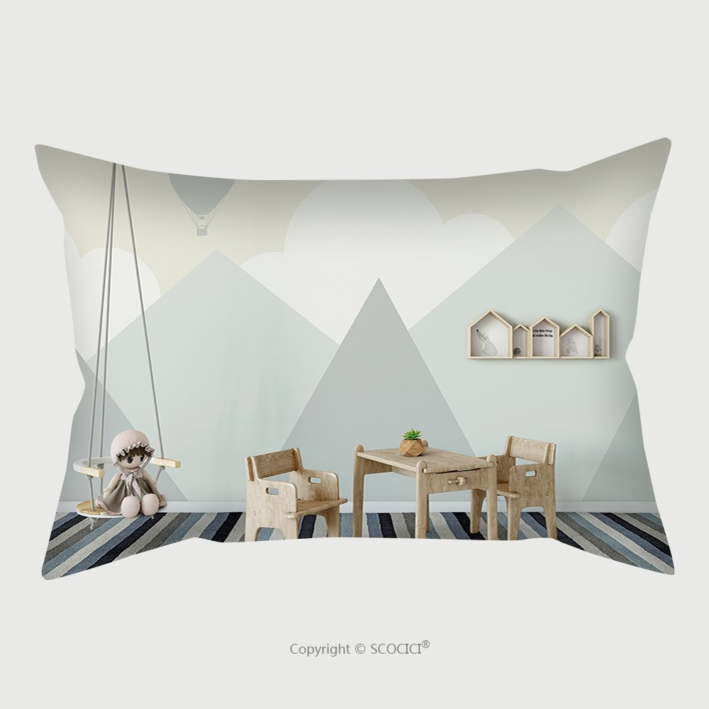 Custom Satin Pillowcase Protector Mock Up Wall In Child Room Interior Interior Scandinavian Style D Rendering D Illustration 604133135 Pillow Case Covers Decorative