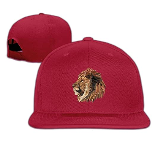 cb1244c31d Unisex Lion Big Cat Head Logo Cotton Snapback Hip Hop Flat Tongue ...