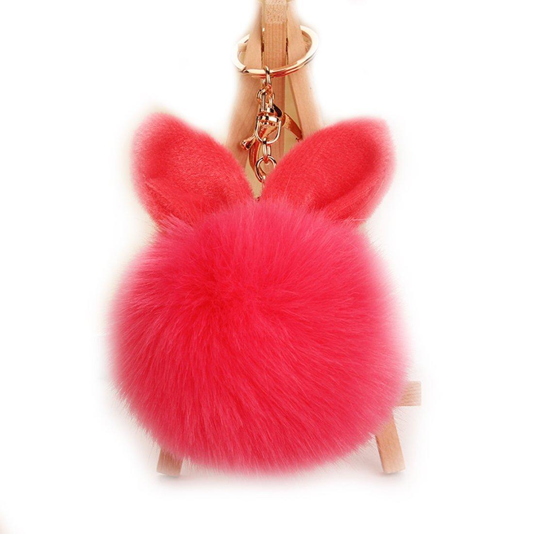 2a27e2ad48 URSFUR Rabbit Fur Ball Keychain Soft Ears Key Chain Ring Hook Phone Bag  Pendant at Amazon Women s Clothing store