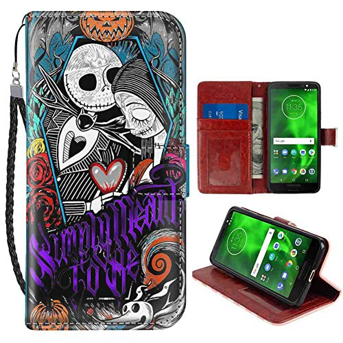 Wallet Case for Moto G6 5.7 Inch Jack Skellington Nightmare Before Christmas Sally Halloween Simply Meant to Be