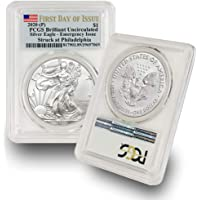 2020 -(P) 1 oz American Silver Eagle Coin Brilliant Uncirculated S$1 (Struck at Philadelphia - First Day of Issue…