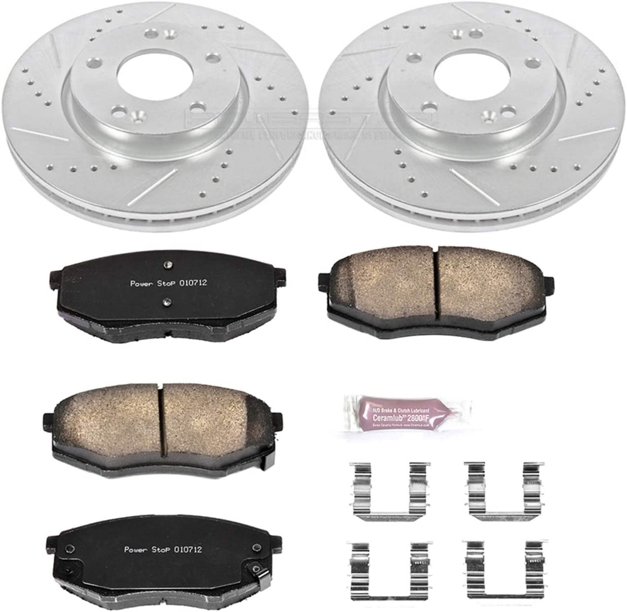 Power Stop K5806 Front Brake Kit with Drilled//Slotted Brake Rotors and Z23 Evolution Ceramic Brake Pads