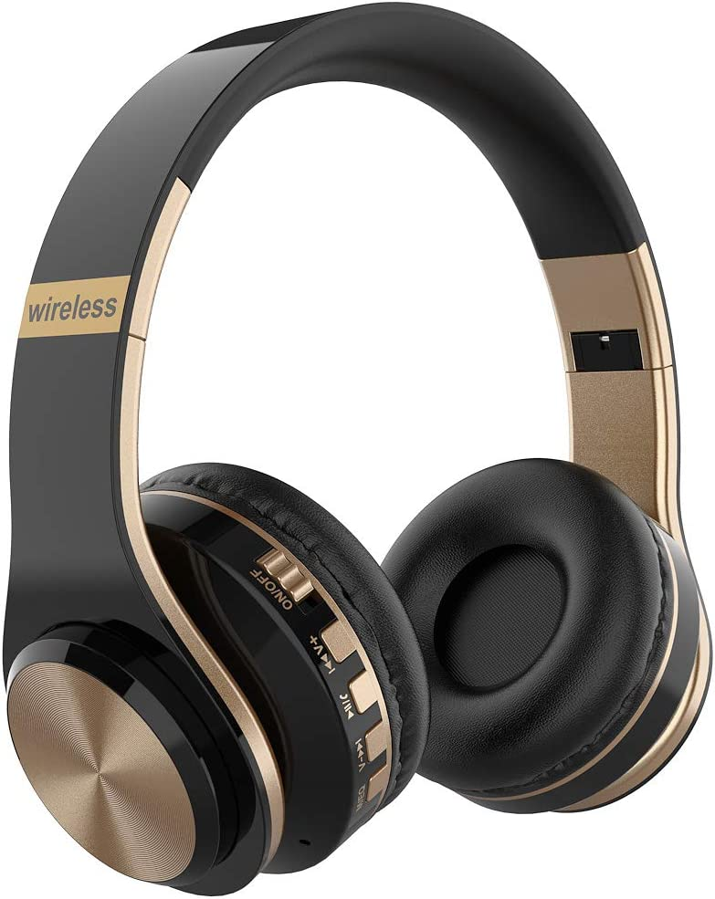 WEILIGU Wireless On Ear Headphones Lightweight HiFi Stereo Comfortable Leather Bluetooth Headsets with Built in Mic Earphones Black