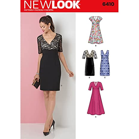 Amazon Com New Look Patterns Misses Dress With Skirt And Fabric