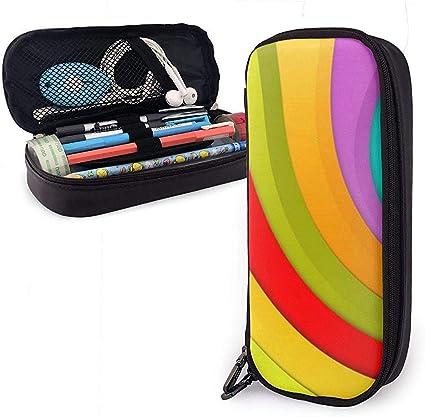 Color Line Divertido estuche de cuero de PU, organizadores de papelería duraderos para estudiantes con cinturones elásticos de doble cremallera: Amazon.es: Oficina y papelería