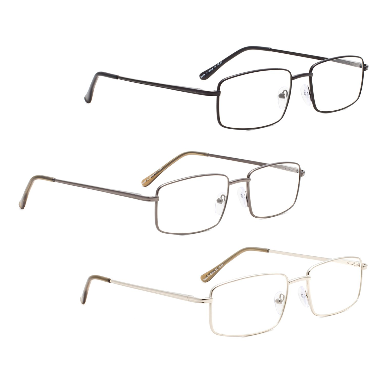 READING GLASSES 3 pack Metal Readers for Men LUR