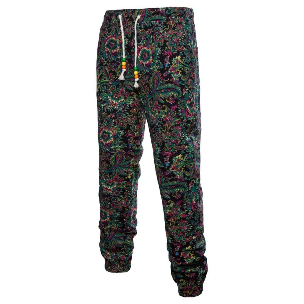 Realdo Clearance Mens Fashion Floral Print Trousers Sweatpants Elastic Waist Creative Jogger Pants(X-Large,Black)