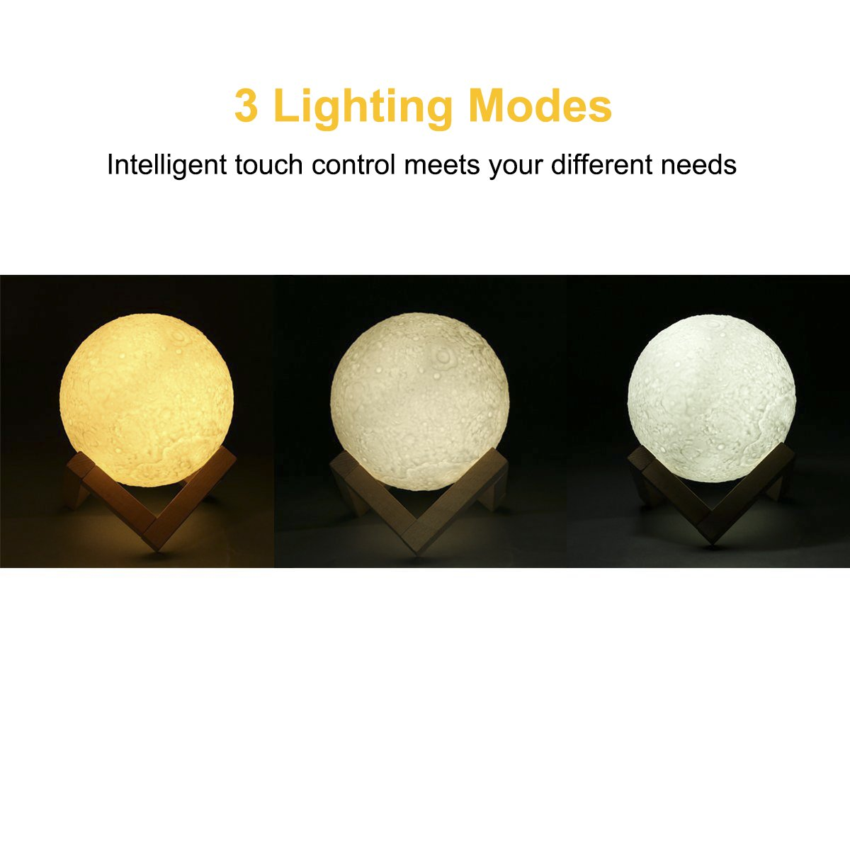 ProGreen LED Moon Night Light, 3D Printing Moon Lights, LED Moonlight Desk Bedside Lamp, Adjustable Brightness and Color, Touch Control, USB Rechargeable Hanging Lighting with Stand & String