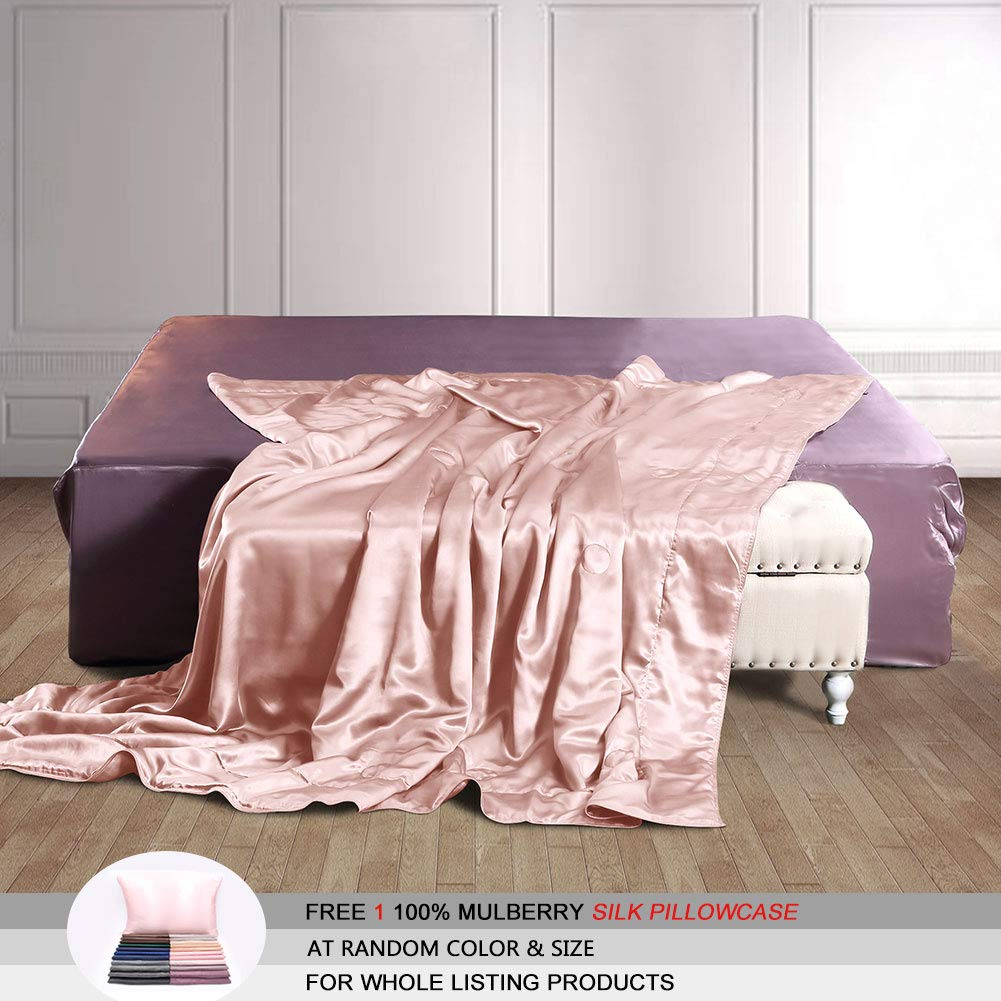 THXSILK 100% Mulberry Silk Throw Blanket for Bed/Couch Top Grade Long-Strand Silk Quilted Bedspread Soft & Cozy (Charming Pink, 53x70 inch) by THXSILK