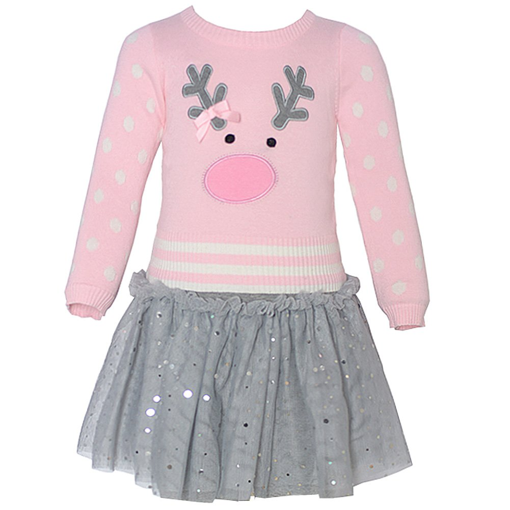 Bonnie Jean Little Girls Pink Reindeer Applique Sweater Skirt Outfit 2T