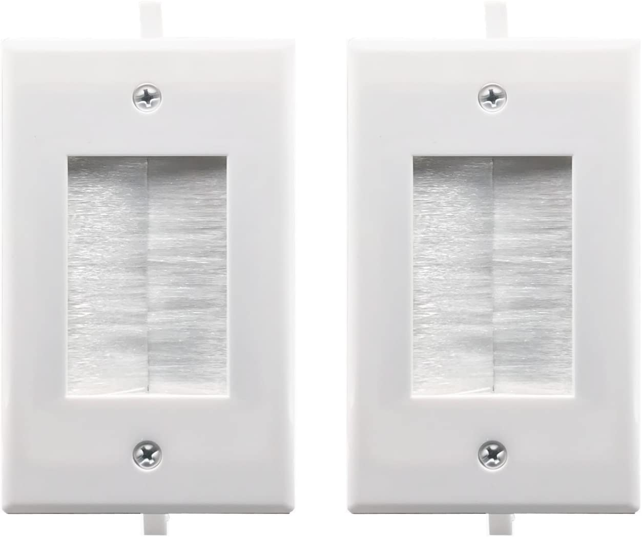 Recessed Low Voltage Cable Through Brush Wall Plate,Yomyrayhu,Easy to Mount Outlet,Cable Management Pass Through Wall Plate,Works Great with Audio//Vedio,HDMI,Home Theater and More,White 2 Pack