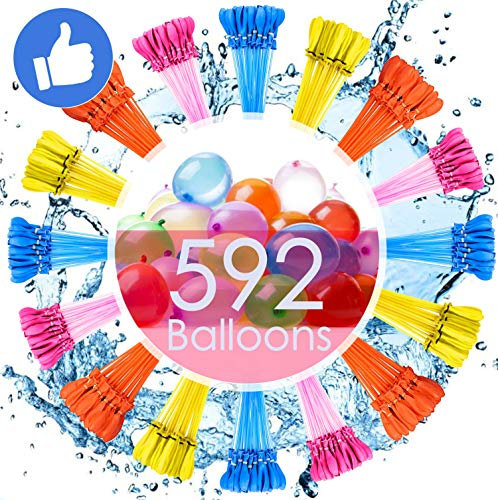 🥇 Water Balloons for Kids Girls Boys Balloons Set Party Games Quick Fill 592 Balloons 16 Bunches for Swimming Pool Outdoor Summer Fun MV1
