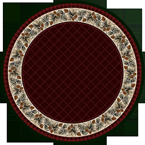 KENSINGTON ROW LAKE AND LODGE COLLECTION AREA RUGS -PINE CREEK PINECONE BORDER RUG - 8' ROUND RUG - GARNET - LODGE - Rug Round Pinecone Area 8'