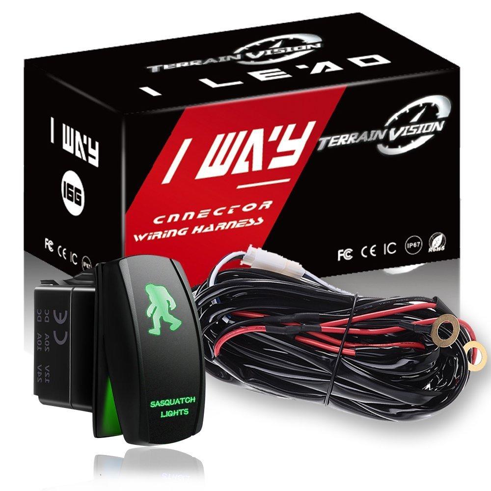 1-Lead Relay Wiring Harness Kit w/ LED Light Bar Blue Light Switch For Fog  Lamp