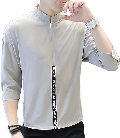 AiRobin Camisa de Hombre con Estampado de Letras, Mangas Tres Cuartos, Camisa, Primavera, Verano: Amazon.es: Ropa y accesorios