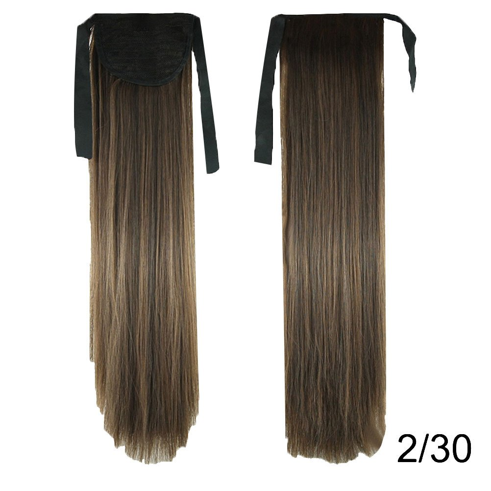 PrettyWit 22' Ponytail Clip in Hair Extensions Tie up Long Straight Synthetic Hairpiece Wig(Darkest Brown & Light Auburn 230) APTiS055-230