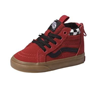 e617a023a8c Vans Kids T SK8 HI Zip MTE Checkerboard Racing RED Size 5