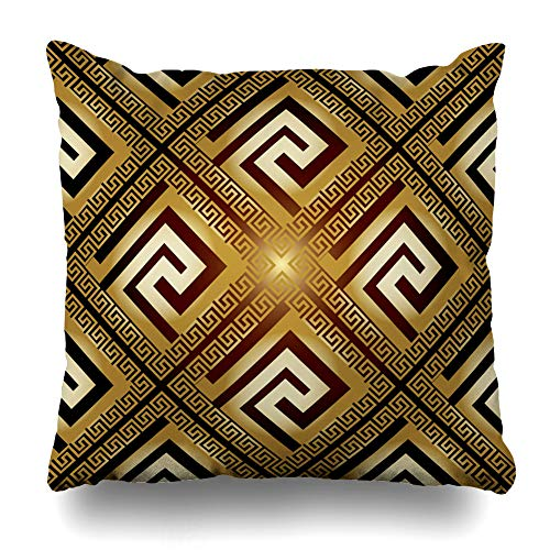 DIYCow Throw Pillows Covers Versace Luxury Modern Shiny Vintage Greek Keys Flowers Ornaments Shadows Highlights Grecian Home Decor Pillowcase Square Size 20 x 20 Inches Cushion Case (Decor Grecian)