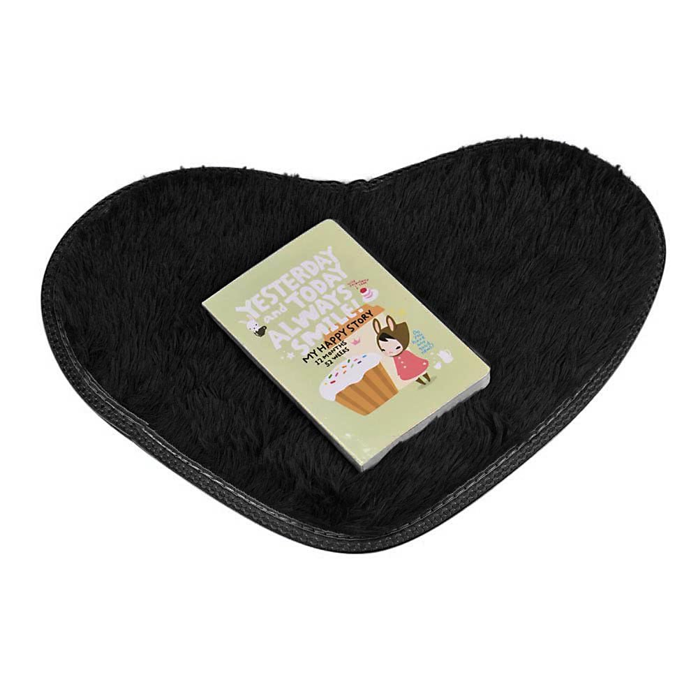 Clearance  Tuscom Super Soft Faux Fur Warm Hairy Sheepskin Heart Shape Area Rug,Non Slip Bedroom Bedside Rugs Floor Chair Cover,5.7 x 11.0''Modern Style Home Decoration(9 Colors) (Black)