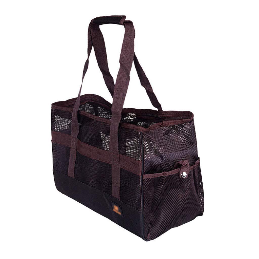 402027cm Pet Travel Bag Pet Handbag Breathable Mesh Portable Folding Dual-use Dog Cat Outdoor Shoulder Bag Travel Carrier Brown (Size   40  20  27cm)