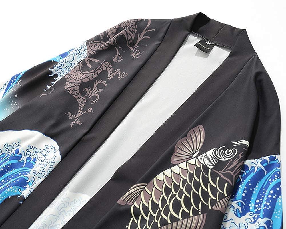Liangzhu C/árdigan Corto De Estampado Casual Chaqueta Chal Hombres Mujer Kimono Tops