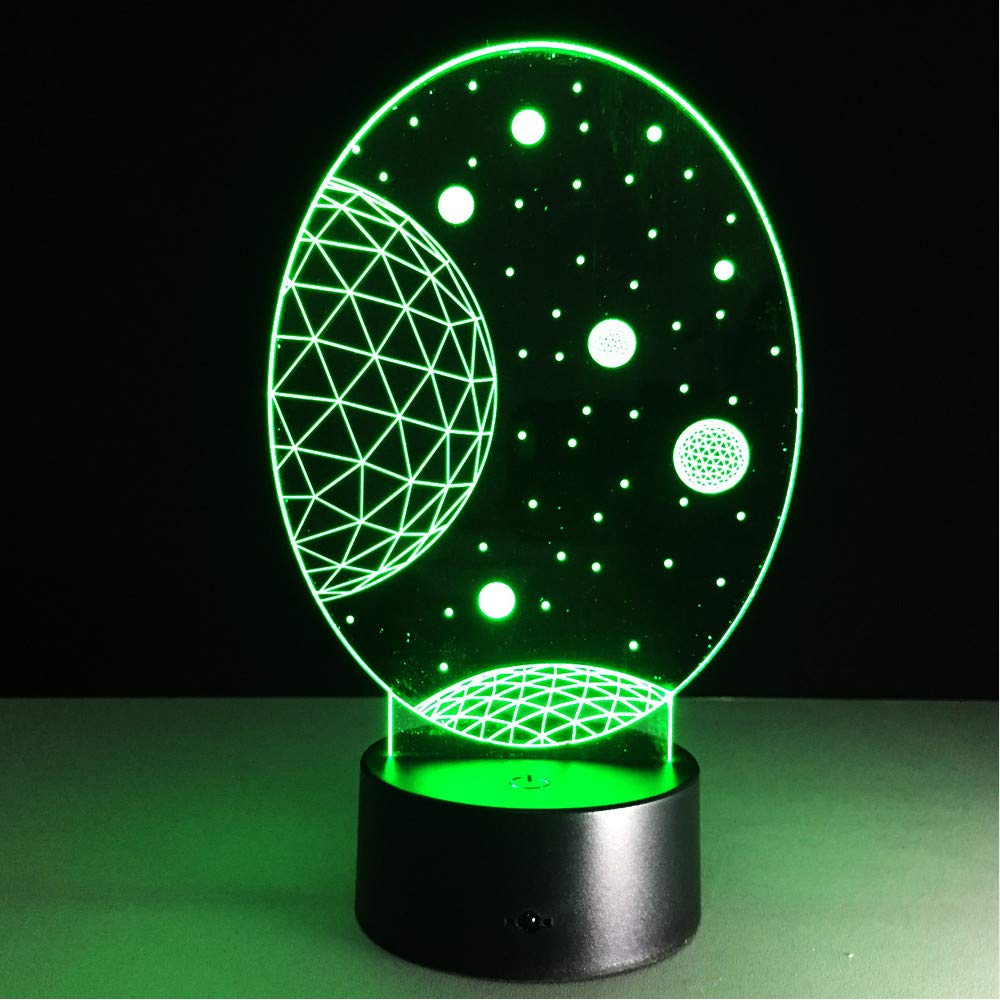 Hlfymx Universe Night Light Lamp 3D Starry Sky Planet Planet Planet Led Lamp 7 Lámpara De Mesa Colorida Para Niños Regalos De Navidad aec021
